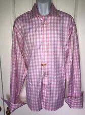 DUCHAMP Button Down Pink/White Cuff Link Sleeve Shirt 18.5 Excellent Condition!