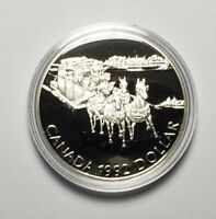 Canada 1992 Stagecoach Horses .925 Sterling Silver $1.00 One Dollar Coin Proof