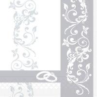 Serviette Hochzeit in Silber aus Tissue 33 x 33 cm, 100 Stück