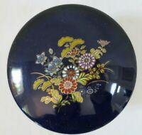 """Vintage Navy Blue Porcelain Vanity Trinket Box Jar Gold Trim Floral Japan 4"""""""