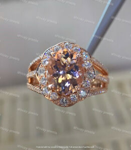 3.50Ct Oval Cut Morganite Diamond Solitaire Engagement Ring 14K Rose Gold Finish