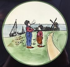 Antique Zahl Germany Hand-Painted Dutch Boy Girl Smoking Plate