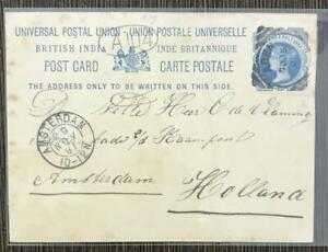 INDIA USED IN ADEN 1891 VICTORIA POSTCARD TO HOLLAND