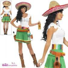 Womens Tequila Shooter Girl Adult Ladies Mexican Wild West Fancy Dress Costume