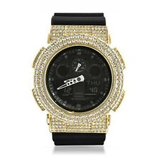 Gold Fully Iced Out Mens Casio G Shock Watch GA-100