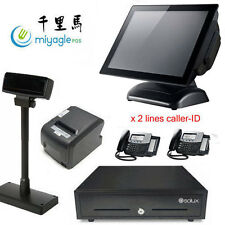 "15"" All In One POS Touch Screen Flat Panel Windows 10 i3 SSD Restaurant"