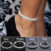 Women Clear Shining Crystal Rhinestone Silver Anklet Chain Bracelets Jewelry