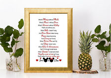 Wedding gift couple   ❤️  LOVE GIFT PERSONALISED   ❤️   DISNEY ANNIVERSARY PRINT