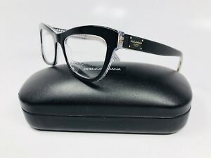 New Dolce & Gabbana DG 3253 3080 Black On Clear with Print 49mm with Case