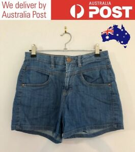 CUTE BLUE DENIM SHORTS - CLASSIC HIGH-RISE - COTTON ON SIZE 8 - FREE POST (NEW)