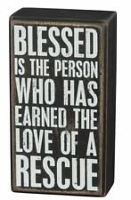 "Blessed Earned Love of Rescue Box Sign Primitives Kathy 3"" x 5.5"" wood"