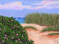 CAPE COD Sailboats Dune Beach Roses Matted Print Ocean