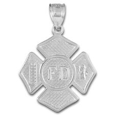 925 Sterling Silver Fire Department Solid Firefighter Badge Pendant