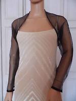 BLACK Organza Wedding Evening Shrug Bolero Jacket..  All sizes!