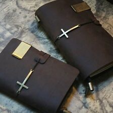 A5 Handmade Vintage Brown Leather Customized Traveler's Journal Diary Note Book
