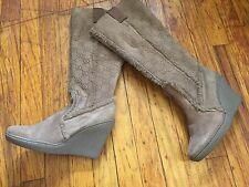 STEVE MADDEN TAN SUEDE WEDGE Sheepskin Shearling lined Tall winter Boots 6