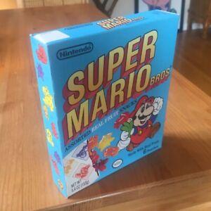 Vtg 1989 Super Mario Bros. FRUIT SNACKS Original Display Box Nintendo RARE 80s!