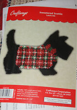 "Sweatered Scottie Dog Shaped Christmas Latch Hook Kit Craftways 27"" x 20"""