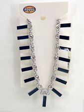 Fossil Multi Blue Bar Necklace Silvertone Pave Crystals Vintage Motifs NEW! NWT