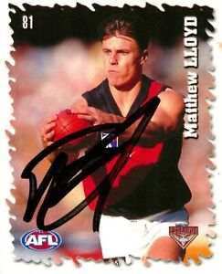 ✺Signed✺ 2000 ESSENDON BOMBERS AFL Premiers Card MATTHEW LLOYD Sticker