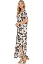 COTTAGE ON THE BEACH DUSTY PINK FLORAL Loose Pocket T-Shirt Maxi Dress L BHCS