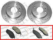 FOR NISSAN NAVARA D40 2.5 DCi FRONT 320mm DRILLED GROOVED BRAKE DISCS PADS
