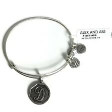 "Alex and Ani Rafaelian Silver Finish Initial ""D"" Expandable Wire Bangle, 2.5"""