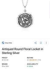 Sterling silver floral picture locket