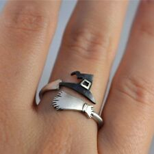 Halloween Witch Broom Cute Ghost Finger Ring Open Rings Party Cosplay Jewelry aa