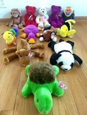 Ty Beanie Buddys Lot of 12 Bears Monkeys Fish Panda Turtle Cat Camel MWMT