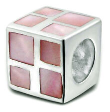 Argent sterling 1 cube charm bead avec pink shell inlay 9 mm, large 6 mm trou