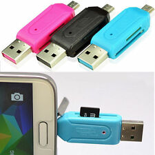 USB 2.0+Micro USB OTG Adapter SD T-Flash Memory Card Reader for Smart Phone