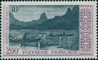 French Polynesia 1958 Sc#C27,SG16 200f Night Fishing off Moorea MNG