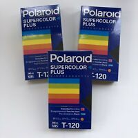 Lot- 3 Polaroid SUPERCOLOR  PLUS T-120 VHS Blank Recordable Video Cassette Tapes