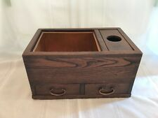 Antique Japanese Wood Hibachi Copper Lined with Two Drawers