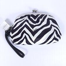NEW COACH 42988 Zebra Wallet White Black Kiss Lock Wristlet Zip Purse Clutch