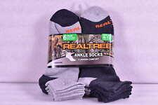 Men's Realtree Cushion Comfort Ankle Socks, Dark Grey & Light Grey - 6 Pairs