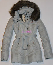HOLLISTER by Abercrombie Womens Fur Trim Hood Down Jacket Long Length Coat XS