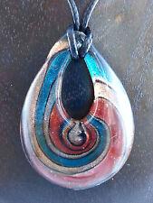 Halskette mit Anhänger aus Glas Tropfen Goldsand / Bernstein / Petrolgrün