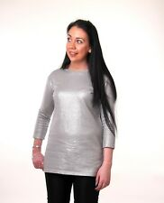 Converse Silver Lurex Three Quarter Sleeve Stretch Comfort Top 14 MADE IN ITALy