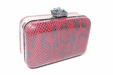 House of Harlow MARLEY Clutch Crossbody Bag Red Snake Print $195