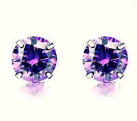 Women Men Purple CZ Stud Earrings 925 Sterling Silver 4mm 5mm 6mm 7mm Gift Pouch
