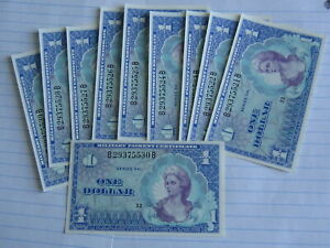 Lot of 10 Pcs X 1 Dollar MPC 661 UNC (See Photos)