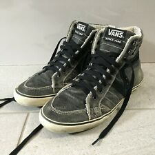 Vans Mediados Tobillo Alto Zapatillas Size UK 7.5 EUR 41 Cuero Gris Lana Forrada