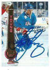 Autographed 1994-95 Pinnacle SCOTT YOUNG Quebec Nordiques Card #361 wShow Ticket