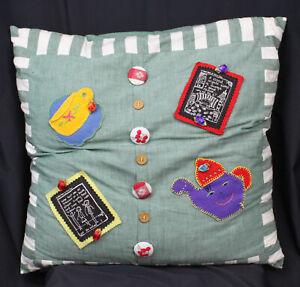 "Nancy Swan Drew Art Pillow Whimsical Decor 23"" Floor Big Teapot Teacup Fine Line"