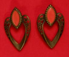 Signed VAL Earrings Filigree with Orange Pierced by VAL Casting Company HTF