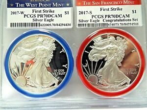 2017 W/S  American Silver Eagles 2 in 1 Coin Set PCGS PF 70 DCAM First Strike