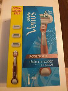Gillette Venus Swirl Rose Gold Flexiball Damen Rasierer + 3 Ersatzklingen - NEU