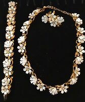 TRIFARI Alfred Philippe Fleurette Enamel Necklace Earrings Pin 1955 Vintage Set